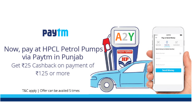 paytm petrol hcl pumps loot offer  cashback