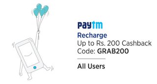 paytm GRAB  cashback on recharges dth landline bills