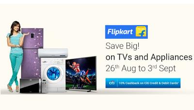 flipkart sale  cashback on tvs appliances