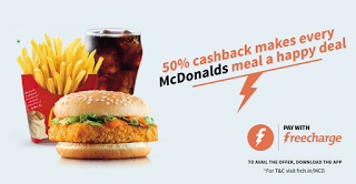 FreeCharge mcdonalds  cashback