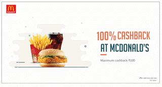 Freecharge  cashback on Mc Donalds